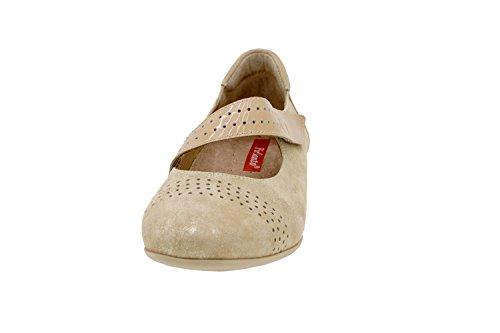 ancho plantilla de mujer Calzado extraíble Beig 6727 cómodo piel Piesanto zapato confort dvUCTCwq