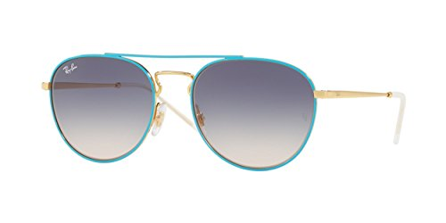 Ray-Ban Women's Metal Woman Square Sunglasses, Gold Top on Light Blue, 55 - Ban Top Flat Ray