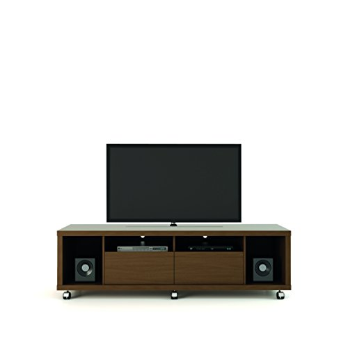 """Manhattan Comfort Cabrini 1.8 Stand Collection Free Standing TV Stand with Drawers, 71"""" L x 20.8"""" D x 17.6"""" H, Nut Brown"""