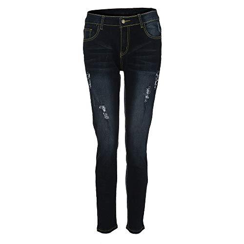 Vita Elastico Skinny Casual Denim Bodycon Metà Topgrowth Strappati Blu Stretti Lunghi Slim Jeans Donna Fit Pantaloni FqRw16T