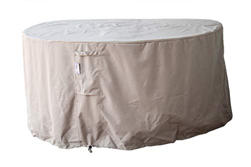 All Weather 65x 31.5H in Diameter Outdoor Round Daybed Patio Furniture Cover in Beige - Heavy Duty Garden Furniture Cover