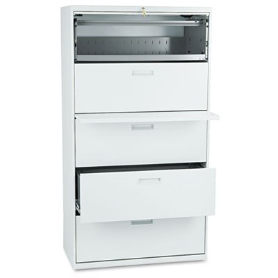 500 Series Five-Drawer Lateral File, 36w x67h x19-1/4h, Light Gray