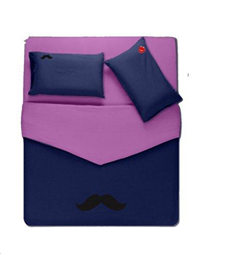 Homesicker Dark Purple Beard Pattern Pure Cotton Bedding Set,X-Long Twin price