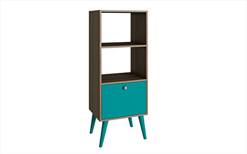mi Collection Modern Sophisticated Tall Standing 1 Drawer and 2 Open Shelf Book Case, Oak and Aqua (Oak Tall Bookcase)
