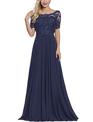 Petite Mother of The Bride Dresses with Short Sleeves Long Maxi Formal Evening Party Gown for Women Navy Blue (Petite Evening Dresses Navy Blue)