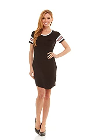 No Comment Juniors Womens Scoop Neck T-Shirt Dress with Raglan Football Stripe Short Sleeves Black/White/Blush - Together Short Sleeve Dress