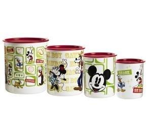 Tupperware Disney Mickey Mouse Vintage 4pc Canister Set (Mickey Mouse Kitchen Canister Set)