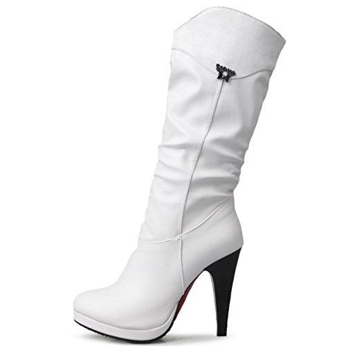 White Tacco Moda Stivali Pull Donna RAZAMAZA Alto On Stivaletti con EAwxBCqz