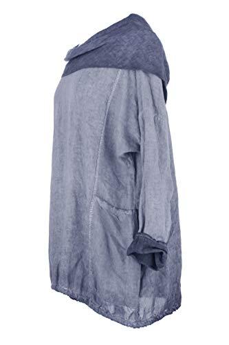 Ladies Sleeves Lagenlook Navy Long Wash Size Neck Women Blouse Linen Italian One Acid Top Cowl r1qI6rHT