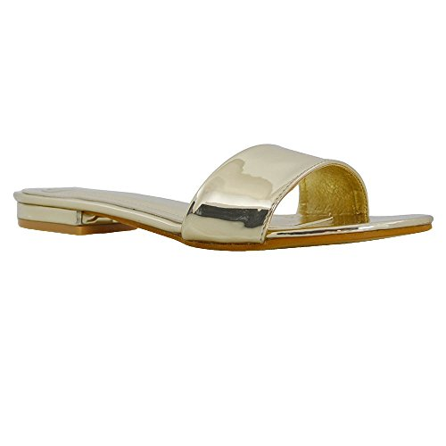 ESSEX GLAM Mujer Casual Ponerse Sintético Deslizador Sandalia Zapatos Oro Metálico