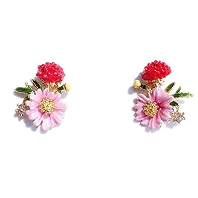 BulingVV 18K Gold Plated CZ Pink Daisy Sunflower and Red Poppy Flower Charm Women Girls Stud Earrings