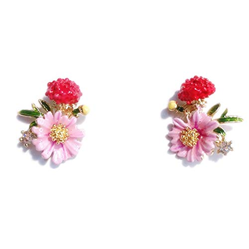 BulingVV 18K Gold Plated CZ Pink Daisy Sunflower and Red Poppy Flower Charm Women Girls Stud Earrings