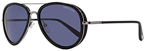 Tom Ford Women's TF341 Sunglasses, Shiny Light Ruthenium/Blue