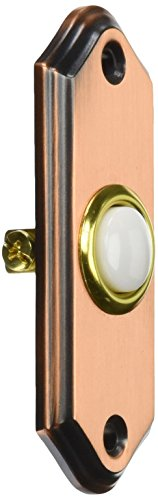 Recessed Mount Push Button - Heath/Zenith 924-B Wired Push Button with Recessed Mount with Lighted Center, Brushed Copper Finish