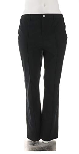 Liz Claiborne NY Hepburn Button Front Straight Leg Pants Black 18W New A262190