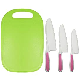 Home Servz Lettuce Knife 3 Sizes and Cutting Board Set - Serrated Nylon Plastic Knife - Children's Cooking Salad Knives - BPA-Free Kids Safe Use 14 THE HIGHEST QUALITY THAT YOU DESERVE: When comes to food premium quality is a must- that's why we offer you an amazing set constructed by the finest materials.All of our Lettuce Knife and Cutting Board materIal are made from 100% Food Grade safe, BPA Free, which odorless. and non-toxic. What is more, all of our products carry a FDA and LFGB certification standards.- Guaranteed to Keep Your Family Safe! THE SET LNCLUDES : Green Cutting Board,-11Inch large Plastic Nylon Lettuce Knife. - 10 Inch medium,Nylon Serrated Knife. - 9 Inch small Children's Cooking Salad Knives. FUNCTION AND USE : Set of 3,Serrated Edges Safe Lettuce and Salad Knives. - For Precision Cutting.Such as ,Cheese,Bread,vegetable, zucchini, carrots, potatoes, apples,citrus,tomatoes, peaches and sweet potatoes, Be Children's a good helper in kitchen . make Kids to be independent chefs!