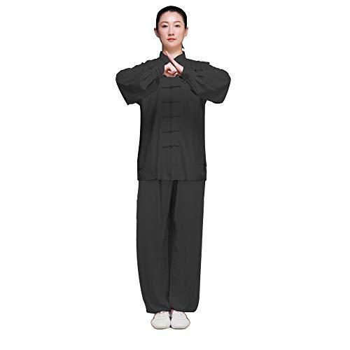 KIKIGOAL Unisex Chinese Traditional Martial Arts Tai Chi Uniform Kung Fu Clothing Wushu Suit For Men and Women (XL, black)