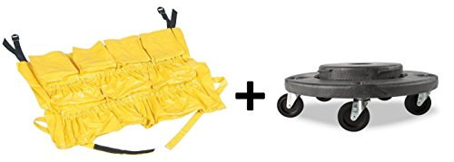 YELLOW ROUND Caddy Bag + Trash Can Dolly 5 Caster, 18