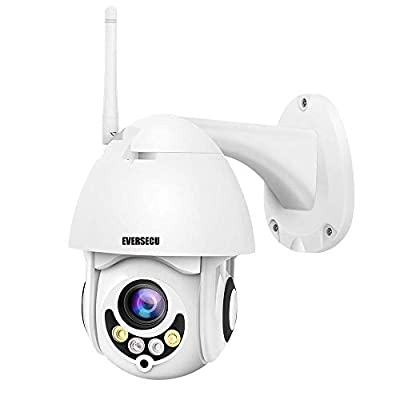 PTZ WiFi IP Camera 1080P HD H.265/H.264 Wireless Waterproof CCTV Security Dome Camera with 4mm F1.2 CS Lens 355° Pan/ 90° Tilt, IR-Cut Night Vision, Motion Detection, Two Way Audio from EVERSECU