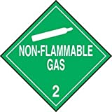 Accuform Signs MPL201CT10 PF-Cardstock Hazard Class 2 DOT Placard, Legend''NON-FLAMMABLE GAS 2'' with Graphic, 10-3/4'' Width x 10-3/4'' Length, White on Green (Pack of 10)
