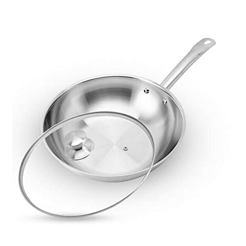 DINNA Wok Non-Stick Stainless Steel Frying, Round Stainless Steel Saute Pan for Gas, Electric and Induction Cooktops, 30Cm