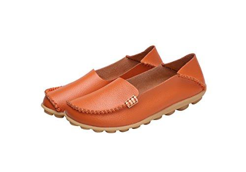 Verocara Dames Leren Platte Bootschoenen Vrijetijdsschoenen Rijden Instappers Oranje