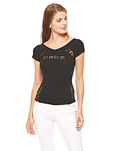 bebe Short Sleeve Side Lace Top (Black, L) ()