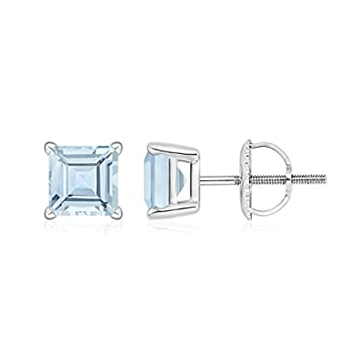 Angara Four Prong Set Square Aquamarine Basket Stud Earrings in Platinum 2JMZ1k