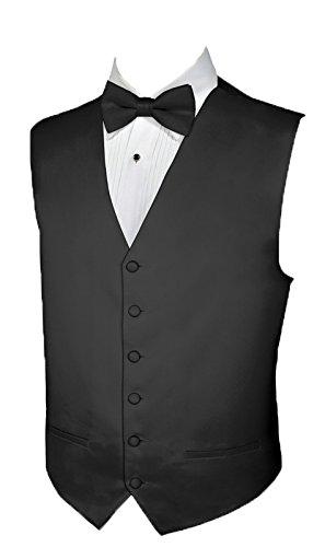 Black Full Back Tuxedo Vest (Tuxedo Vest BLACK SATIN Vest and BOWTIE MEDIUM)