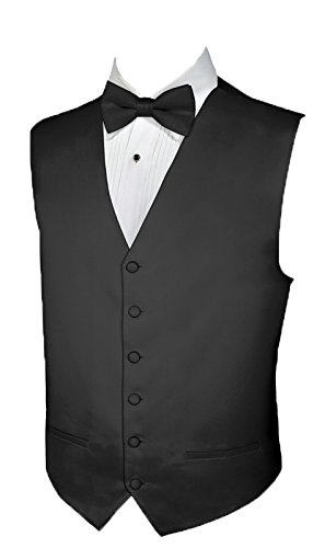 Tuxedo Vest BLACK SATIN Vest and BOWTIE