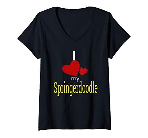 Springer Spaniel Poodle - Womens Springerdoodle Shirt Love Poodle +Springer Spaniel   V-Neck T-Shirt