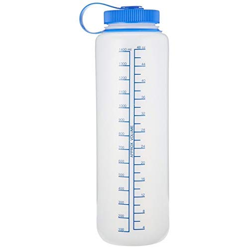 - Nalgene 48 Ounces Grey Silo Everyday Wide Mouth Hydration Bottle with Blue Cap
