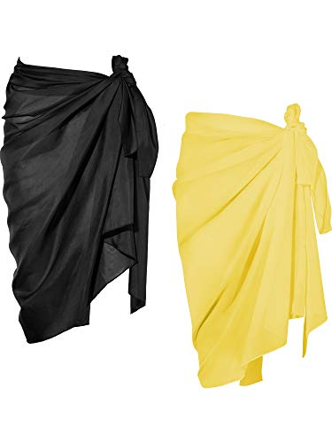 Chuangdi 2 Pieces Women Beach Wrap Sarong Cover Up Chiffon Swimsuit Wrap Skirts (Lack and Yellow, Long A)