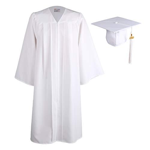 OSBO GradSeason Unisex Matte Adult Graduation Gown Cap Tassel Set White -