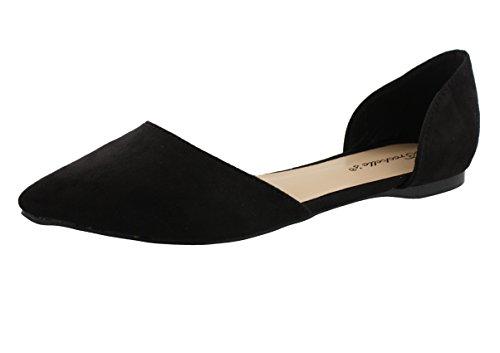 Breckelles-Vegan-Suede-Pointy-Toe-DOrsay-Slip-On-Ballet-Flats