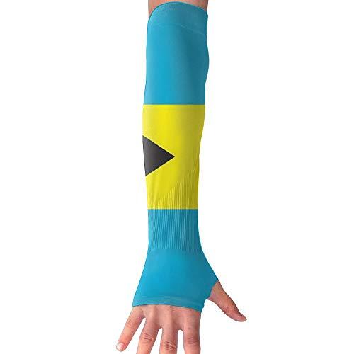 PIOL Bahamas Flag Gloves Anti-uv Sun Protection Long Fingerless Arm Cooling Sleeve