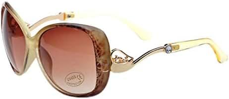 Huashi Women's Big Box Frog Mirror Sunglasses Metal Small Horse Cart Sunglasses High
