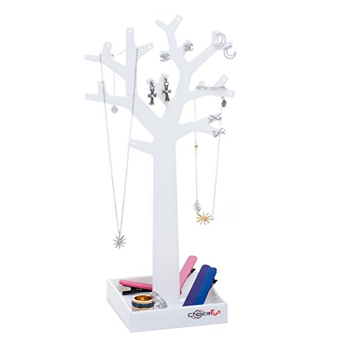"Choice Fun White Assembled Jewelry Tree Earring Display 11.4 inches Tall with Bottom Tray 3.9""L3.9W"