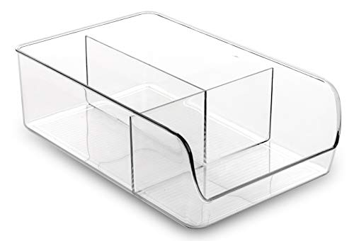Price comparison product image BINO 3 Compartment Refrigerator,  Freezer and Pantry Cabinet Storage Organizer Bin,  Clear and Transparent Plastic Divided Container for Home and Kitchen with Built-in Pull Out Handle