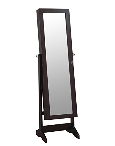 ViscoLogic Mirrored Jewelry Cabinet Armoire Stand, Mirror, Necklaces, Bracelets, Rings DARK BROWN