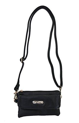 Diophy Multiple Compartments Functional Crossbody Bag Handbag HD-2141 (Black) (Discount Designer Bags)