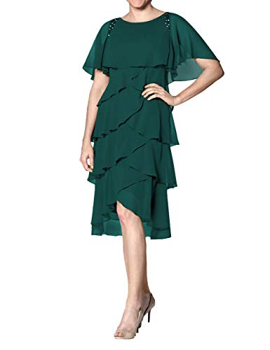 (Cdress Chiffon Mother of The Bride Dresses Plus Size Evening Formal Gowns Short Prom Dress Sleeves US 20W)