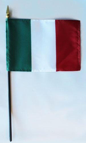 Italy - 4 in x 6 in World Stick Flag
