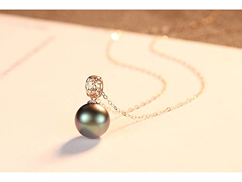 (18K Gold Chain Pendant Necklace for Women Real Saltwater Pearl 8-9mm White Akoya Pearl/Black Tahitian Pearl with 18K Gold Chain and Jewelry Box is Included for Free,Black)