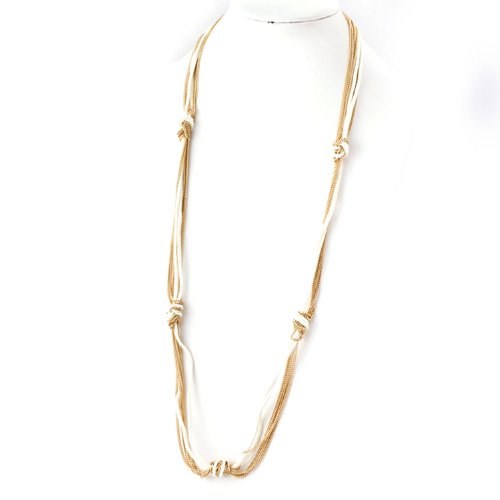 Fabric Chain Knotted Necklace with Gold Chain - Assorted Colors (White) ()