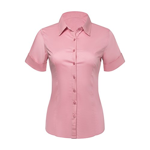 Button Down Shirts for Women, Fitted Short Sleeve Tailored Stretchy Material (Medium, (Pink Solid Cotton Flannel)