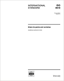 Book ISO 4619:1998, Driers for paints and varnishes