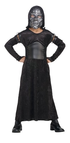 [Harry Potter And The Deathly Hallows, Child's Death Eater Bellatrix Costume And Mask, Medium] (Harry Potter Halloween Costumes Hermione)