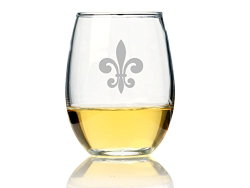 "Chloe and Madison""Fleur De Lis Glass"" Stemless Wine for sale  Delivered anywhere in USA"
