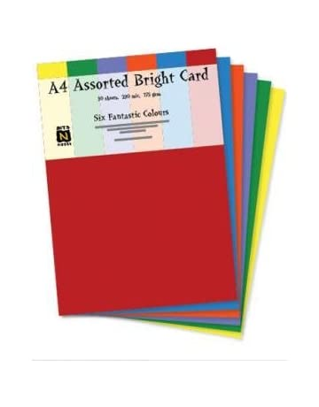 50 Sheets A4 160gsm Coloured Card PASTEL MIX Soft colours Ideal for art crafts